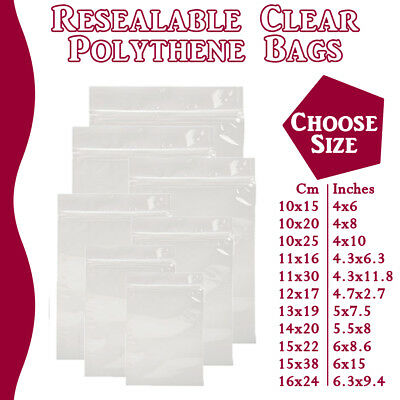 Large Grip Seal Zip Lock Polythene Self Resealable Clear Plastic Bags 1 -100,000