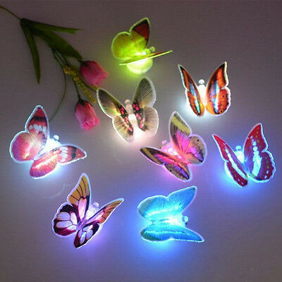 2X Butterfly Color Changing LED Night Light Suction Lamp Home Party Wall Decor&