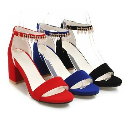 f9f4056f2f62 Women s Suede Block Chunky Heeled Sandals Pearl Chain Ankle Strap Casual  Shoes
