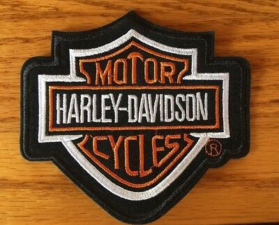 HARLEY DAVIDSON Motor Cycles Iron-On PATCH Silver Black White Orange SIZE Small