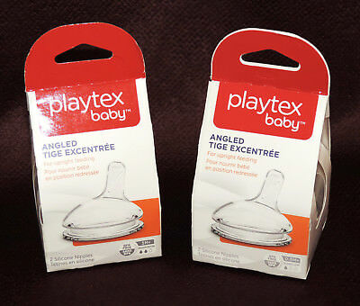 Lot of 2 Packages Playtex Baby Angled Silicone Nipples Slow Meduim Flow NEW