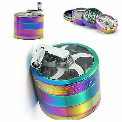 NEW Rainbow Mill 40mm Grinder 4 Part Hand Crank Herb Crusher Magnetic Shark