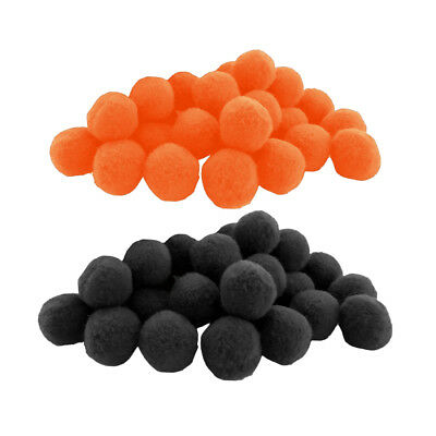 200 Pieces Fluffy Small Craft Pompoms Crafts Decorations Black and Orange