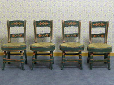 Dolls House Emporium 1:12 Scale Resin Rustic Green Kitchen Chair x 4