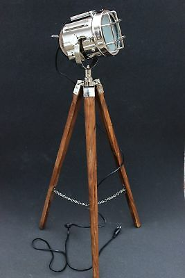 Nautical Retro Style Vintage Spot Search light With Wooden Tripod Stand