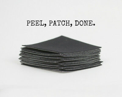 "'Peel and Stick' Black Fabric Repair Patch - 2.5"" x 2.5"" each x 25 Pack"