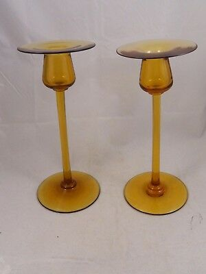 Pair Durand Amber Glass Candle Sticks, Estate of John McAllister
