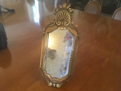 Antique Dressing Tablel Mirror with wooden easel stand.gold plaster frame. Wall