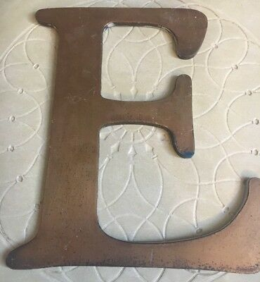 "Vtg Heavy Solid Brass Shop Letter E 10"" Reclaimed Architectural Salvage MCM Sign"