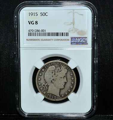 1915-P Barber Half Dollar ✪ Ngc Vg-8 ✪ 50C Silver Very Good L@@k 08 ◢Trusted◣