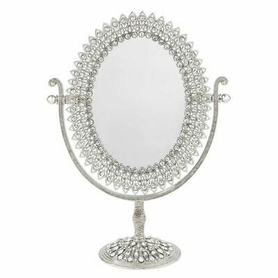 Silver Swiveling Vanity Mirror Cornelia 3x Magnification with European Crystals