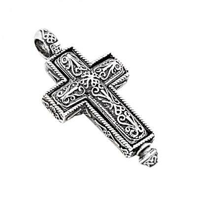 ST187 ~  Sterling Silver Byzantine Reliquary Cross Pendant