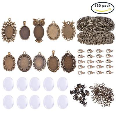 SUNNYCLUE 10 Sets Assorted Cabochon Frame Setting Tray Charms Pendant with Clear