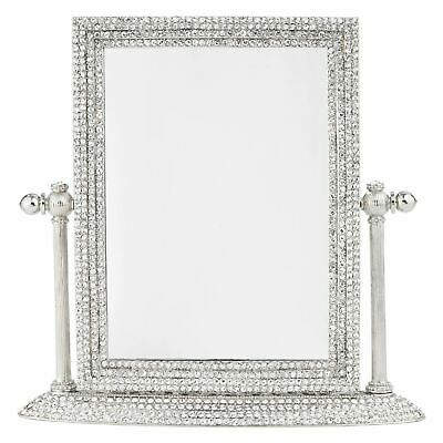 Silver Crystal Swiveling Vanity Mirror 3x Magnification with European Crystals