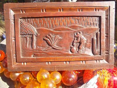 Vintage,mexico,wall Hanging, Hand Carved Village ,mahogany
