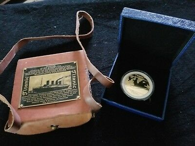 Antique TITANTIC COMPASS in Leather Case With COIN