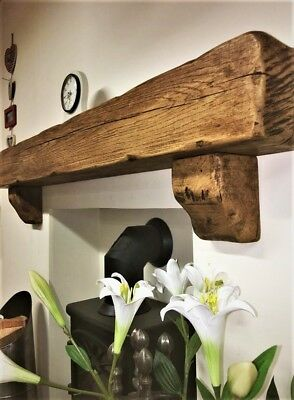Rustic Chunky Oak Fireplace Mantle With Corbels