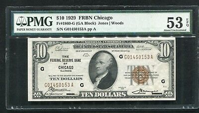Fr. 1860-G 1929 $10 Frbn Federal Reserve Bank Note Chicago, Il Pmg Au-53Epq