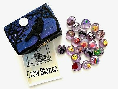 Crowstones Oracle Stones Set with Hand Painted Box Tarot