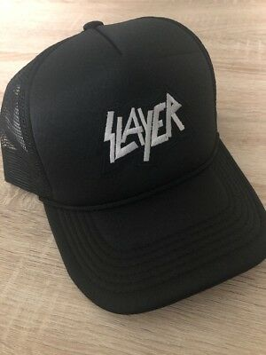 b35743dccab SLAYER Trucker Hat Embroidered Patch Cap Music Rock Band Mesh Black Retro!