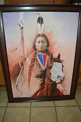 Daniel Long Soldier Original Oil Painting Canvas Chief Sitting Bull Horse Indian