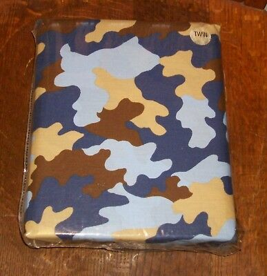 Nos New Old Stock Twin Size Bed Sheets Fitted Top Navy Blueberry Camo Camouflage