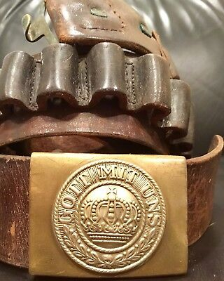 WW1 Prussian Storm Troop/Freikorps EM Belt & Buckle W/39 Cartridge Loops