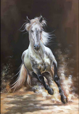 Top - hand painted oil painting high quality running horse original artist signa