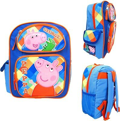 "Peppa Pig 12"" toddler School Backpack Girl's Book Bag - Blue"