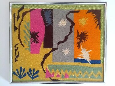 "Vintage Mid Century Modern Matisse "" Cut Outs "" Original Framed Needlepoint Art"