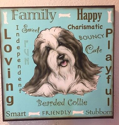 Bearded Collie  Canvas Wall Sign By  Darci