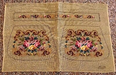 Vintage PURSE POCKETBOOK FLORAL Pre Worked Needlepoint Tapestry COTTON CANVAS