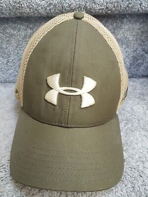 save off 35b9e 62eef Under Armour Golf Mens Fitted Green tan Hat Cap With Mesh Size L xl