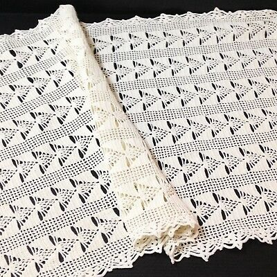 Cream Crocheted Lace Table Runner / Centre Piece - 37cm x 72cm
