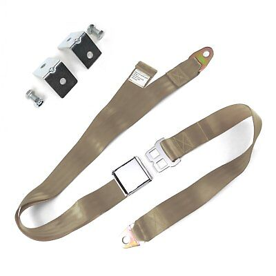 2pt Tan Airplane Buckle Lap Seat Belts w/ Anchor Plate Hardware Pack SafTboy hot