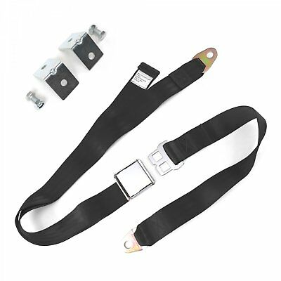 2pt Black Airplane Buckle Lap Seat Belts w/ Anchor Plate Hardware Pack SafTboy