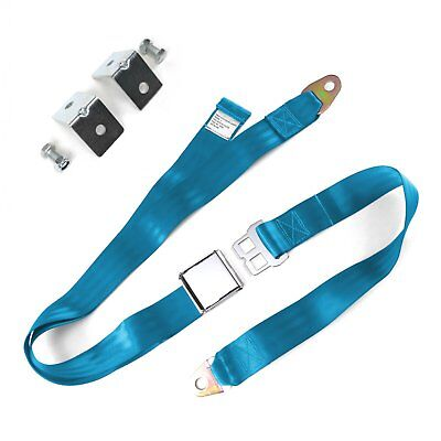 2pt Electric Blue Airplane Buckle Lap Seat Belts w/ Anchor Plate Hardware Pack