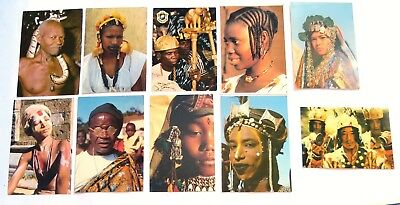 Lot of 10 ETHNIC FACES OF AFRICA 4x6 Postcards Mali Tunisia Bhutan Togo Ivory Co