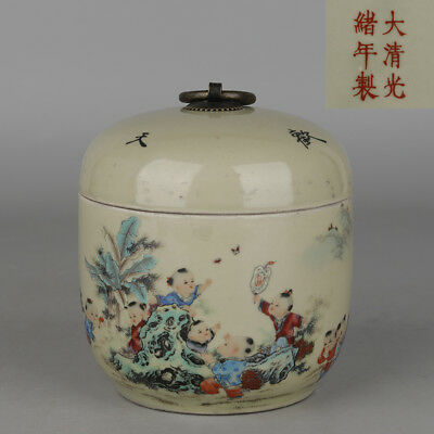 Chinese antique Porcelain Qing guangxu famille rose Child Tea canister pot