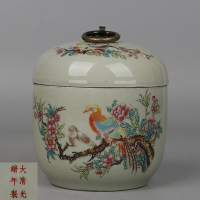 Chinese antique Porcelain Guangxu famille rose painting flower bird Tea canister