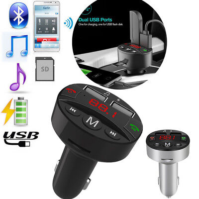 Dual USB Wireless Bluetooth Handsfree Car Kit Charger FM Transmitter MP3 Player