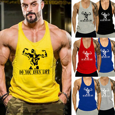 AU Men's Stringer Bodybuilding Tank Top Gym Fitness Singlet Sleeveless Vest Gym