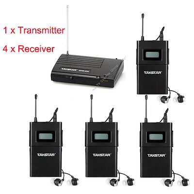 Takstar WPM-200 In-Ear Stage Wedge Monitor System Transmitter +4 Receiver LCOAL!