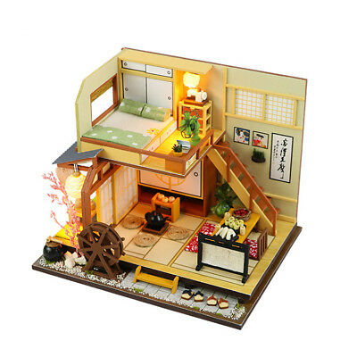 Country Wooden Dollhouse DIY Miniature Furniture Kit Light Child Christmas Gift