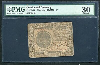 Cc-17 November 29, 1775 $7 Continental Currency Note Pmg Very Fine-30