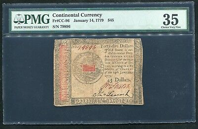 Cc-96 January 14, 1779 $45 Continental Currency Note Pmg Choice Very Fine-35