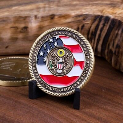 Armed Forces Memorial Iconic Eagle Symbol Antique Brass Challenge Coin.