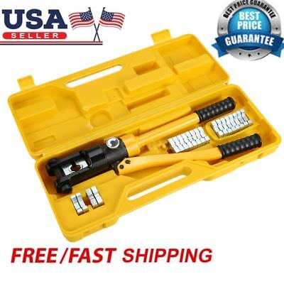 12 Ton Hydraulic Wire Terminal Crimper Battery Cable Lug Crimping Tool Dies US