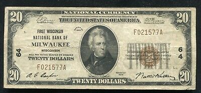 1929 $20 First Wisconsin Nb Of Milwaukee, Wi National Currency Ch. #64