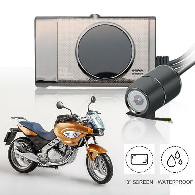 "3 ""LCD HD Motorrad Auto Aktion Dual Kamera Video Recorder Dash Cam Wasserdicht"